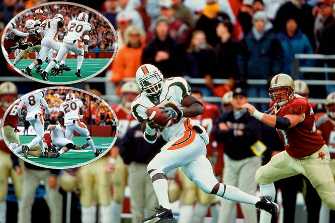 Miami safety Reed led the nation with nine interceptions in 2001, but it was a takeaway from teammate Matt Walter -- who had intercepted a Boston College pass -- that helped the Hurricanes keep their undefeated season alive. With Miami up five late in the fourth quarter, BC drove deep into Miami territory. Brian St. Pierre threw a slant, but the ball bounced off Ryan Read and into the hands of Walter, who charged the other direction. As the Eagles were about to tackle Walter, Reed ran alongside and grabbed the football. He then raced into the end zone to seal an 18-7 win.
