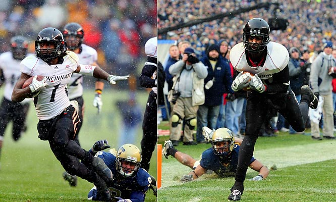 Cincinnati's undefeated season seemed lost on the regular season's final day when Pittsburgh quarterback Bill Stull scored on a three-yard run to give the Panthers a 21-point lead late in the first half. But Bearcats receiver Mardy Gilyard returned the ensuing kickoff 99 yards for a touchdown, and the Bearcats got lucky with 1:36 remaining when Pitt's holder bobbled the ball on an extra point try. After Armon Binns caught a 29-yard Tony Pike touchdown pass with 33 seconds remaining, Jacob Rogers booted the extra point to give Cincinnati a 45-44 win and its second consecutive Big East title.