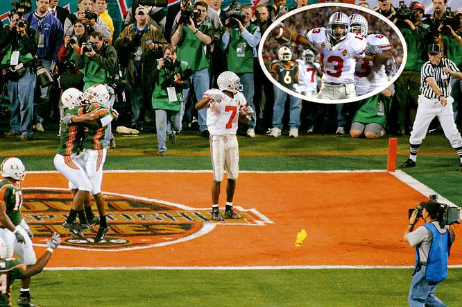 Miami's Todd Sievers kicked a 40-yard field goal as time expired to force overtime, and it appeared Kellen Winslow's touchdown in overtime would give  Miami its second consecutive national title when Ohio State quarterback Craig Krenzel's fourth-down pass fell incomplete in the end zone. But three seconds later, field judge Terry Porter threw a flag and called Miami's Glenn Sharpe for pass interference. The Buckeyes scored to force a second overtime, and Maurice Clarett's five-yard touchdown provided the game-winner. The Buckeyes won the title, and Porter's call remains one of the most controversial in any national title game.