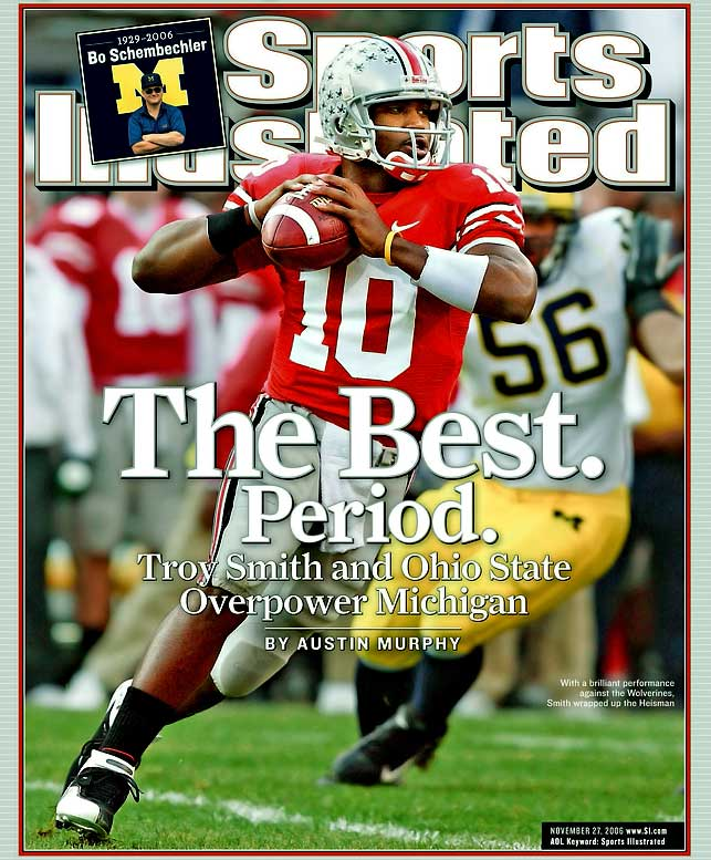 A day after the death of legendary Wolverines coach Bo Schembechler, No. 2 Michigan and No. 1 Ohio State played a game for the ages. Michigan's Steve Breaston's two-point conversion with 2:16 remaining closed the gap to three, but Buckeyes receiver Ted Ginn fielded the Wolverines' onside kick, allowing the Buckeyes to run out the clock and clinch a spot in the national title game.