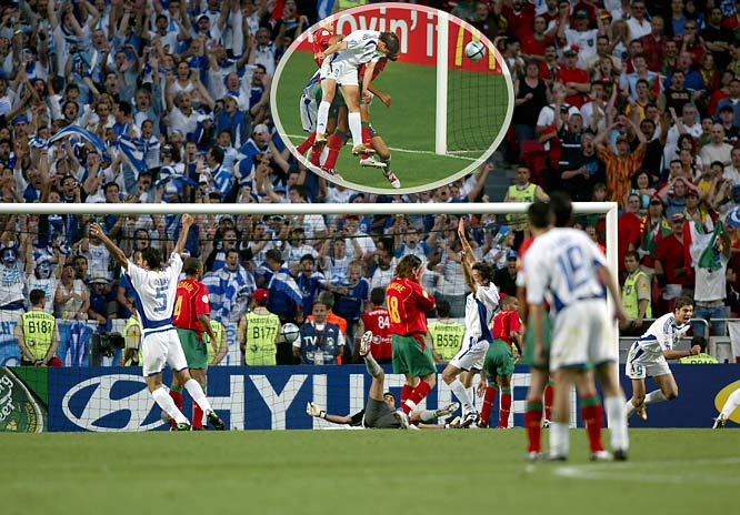 Greece had never won a game at a major tournament before stunning the soccer world as 100-to-1 underdogs at Euro 2004. A band of hard-working unknowns, the Greeks beat host Portugal twice, including 1-0 in the final, and also eliminated defending champion France in the quarterfinals and the Czech Republic (4-0 in the tournament) in the semifinals.