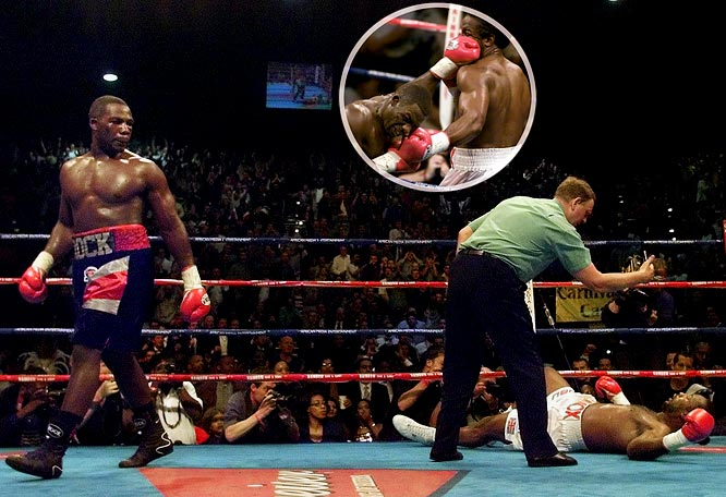 """<i>Sports Illustrated</i> boxing writer Richard Hoffer referred to the lightly regarded Rahman as """"an upset winner of Buster Douglas magnitude."""" A 20-to-1 underdog who was fighting his first title bout, Rahman knocked out a poorly conditioned Lewis with a big right hand in the fifth round in South Africa. Lewis, perhaps looking ahead to a potential fight with former Douglas victim Mike Tyson, lost for only the second time in his career."""
