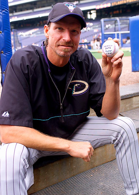 Johnson's greatness can be seen throughout the decade, whether it's his 20-strikeout game in May 2001, his two 17-K efforts in 2002 or his dominant outings in Game 1 of the NLCS and Game 2 of the World Series in October 2001. But his best game, a perfect game, was the decade's best. The oldest man ever to throw a perfect game, the 40-year-old Johnson struck out 13, and only once fell into a three-ball count while facing a Braves lineup that included Chipper Jones, Andruw Jones and J.D. Drew.
