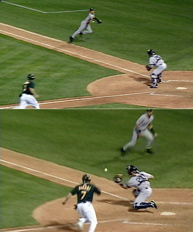 The Yankees mustered only two hits, including Jorge Posada's fifth-inning homer off Barry Zito. Mike Mussina held the A's scoreless into the seventh, when Jeremy Giambi punched a two-out single and Terrence Long doubled into the right-field corner. Shane Spencer's throw home missed both cutoff men as Giambi barreled around third, but Derek Jeter, seemingly out of nowhere, corralled the errant toss and flipped it backhanded to Posada. Giambi, who failed to slide, was tagged an instant before his foot came down on the plate. Mariano Rivera got the final six outs as the Yankees staved off elimination en route to their fourth consecutive pennant.