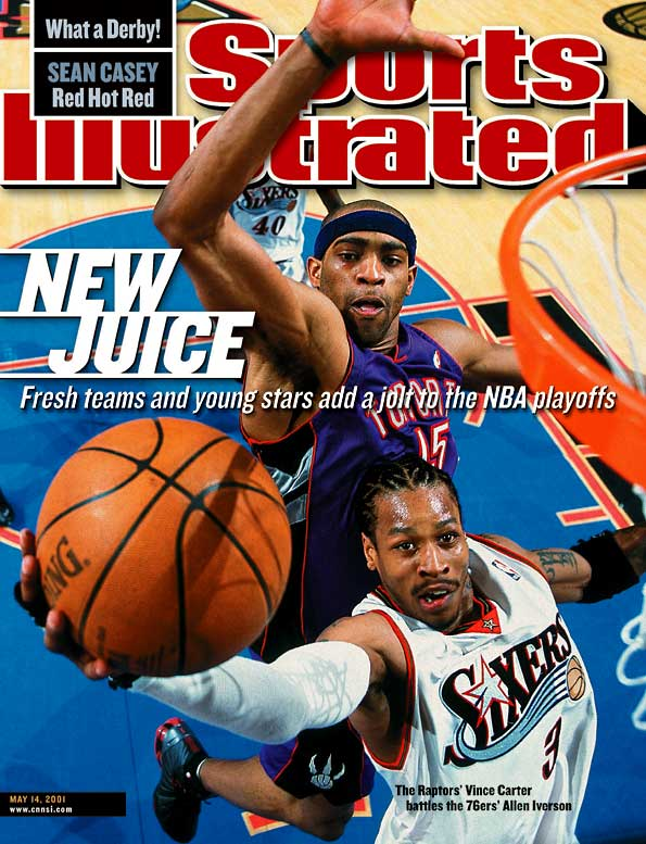 Iverson vs. Carter in a 2001 second-round series was a riveting duel. After Philadelphia's Iverson erupted for 54 points in Game 2, Toronto's Carter responded with 50 points in Game 3. Carter made his first eight three-pointers, all in the first half, and tied the NBA playoff record with nine overall. Iverson answered back with 52 points in Game 5, just after receiving the regular-season MVP trophy in a pregame ceremony. The 76ers and Raptors went all the way to Game 7, in which Carter missed a last-second shot in Toronto's 88-87 loss.