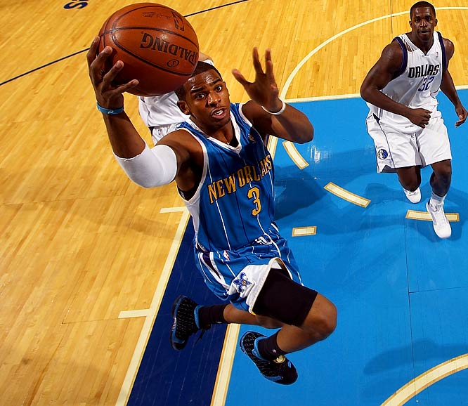 Paul came within three steals of a quadruple-double twice in a two-week span last season. The one highlighted here is the first of those games, at Dallas, where the 6-foot point guard recorded 33 points, 11 assists, 10 rebounds and seven steals against one of the NBA's triple-double masters, Jason Kidd, in New Orleans' 104-97 victory. Paul had the first 30-10-10-7 game since Alvin Robertson in 1986.
