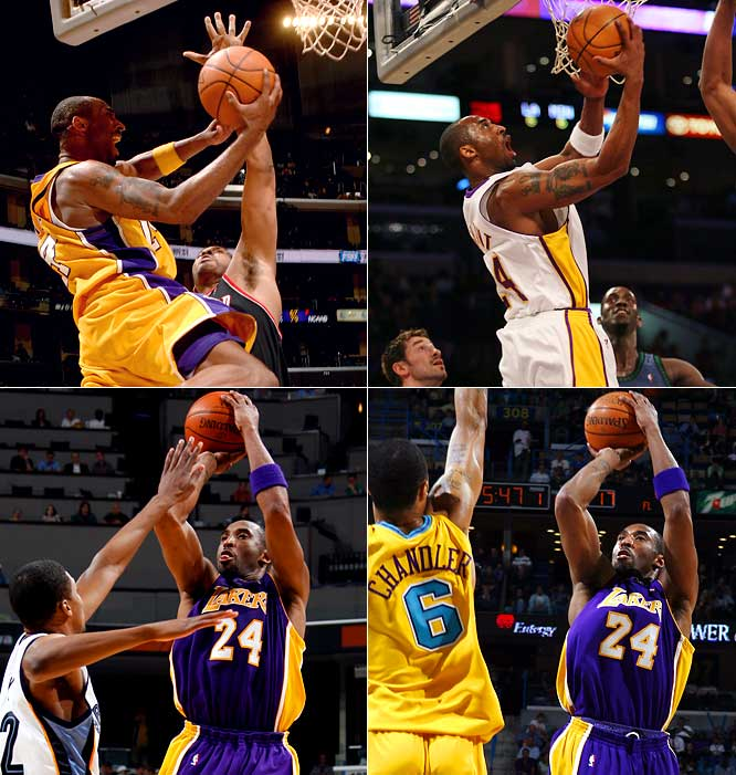 Kobe scored 65, 50, 60 and 50 points in consecutive games, the second-most 50-point games in a row behind Wilt Chamberlain's seven. Bryant's streak ended when he finished with 43 points against the Warriors. He ended the 2006-07 season with a team-record 10 50-point games, again the most by a player since Chamberlain, who had 30 in 1962-63.