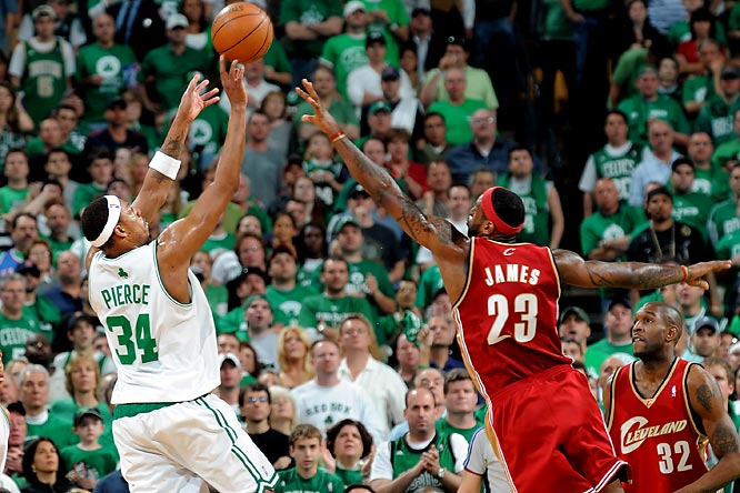 In a duel that brought back memories of Dominique Wilkins vs. Larry Bird 20 years earlier, LeBron scored 45 points and Pierce countered with 41 in Game 7 of a second-round series between Boston and Cleveland. The Celtics prevailed 97-92 on their way to winning their first championship since 1986.