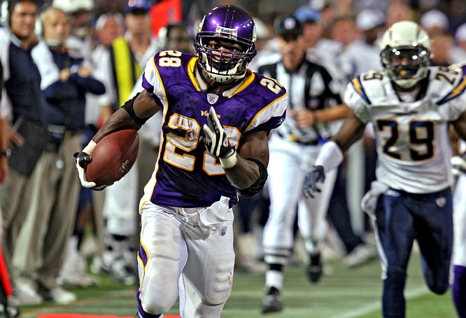 In only the eighth game of his career, the Vikings' Peterson gashed the Chargers for a league-record 296 yards on 30 carries in a 35-17 victory in the Metrodome. He ran for 253 in the second half, as Minnesota rallied from a 14-7 deficit. He had scoring runs of 1, 64 and 46 yards.