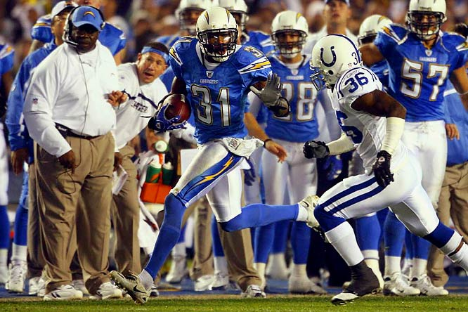Of the six interceptions Peyton Manning threw in a 23-21 loss to the Chargers, three were by cornerback Cromartie, whose leaping one-handed grab is pictured over the entrance to the team's training facility. To put the feat into perspective: It was the first time since 2002 that Manning threw three or more picks in a game. A week earlier, he had set an NFL record with a 109-yard return off a missed field goal against Minnesota.