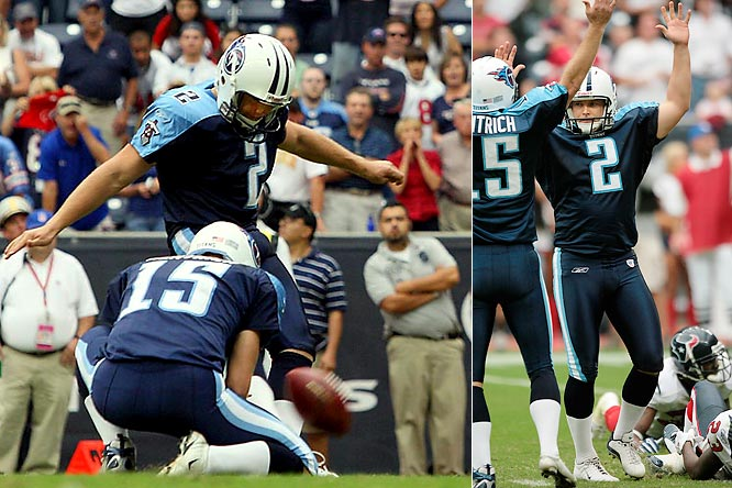 The Tennessee kicker converted a record eight field goals to help the Titans edge the Texans 38-36. He was good from 52, 25, 21, 30, 28, 43, 29 and 29 yards. The last was the game-winner as time expired.