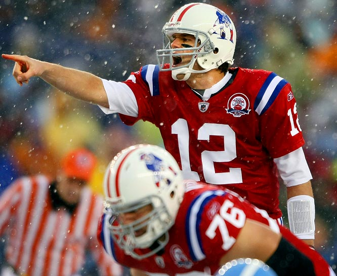 Operating flawlessly in snowy Foxboro, Mass., Brady burned Tennessee for an NFL-record five touchdown passes in the second quarter as New England built the biggest halftime lead (45-0) in league history. The quarterback finished 29-of-34 for 380 yards and a career-high-tying six touchdowns in a 59-0 rout.