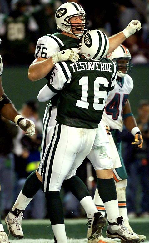 Every Jets fan will claim to have been in attendance for this Monday-night miracle after quarterback Vinny Testaverde erased a 23-point fourth-quarter deficit by completing 18-of-26 passes for 235 yards and four scores in the final 15 minutes of regulation. His three-yard toss to Jumbo Elliott on a tackle-eligible play with 42 seconds to go tied the game at 37-37, and John Hall's 40-yard field goal in OT won it. What made the outcome most memorable was that it came before a virtually empty stadium, as many in the crowd headed for the exits after Miami took a 30-7 lead.