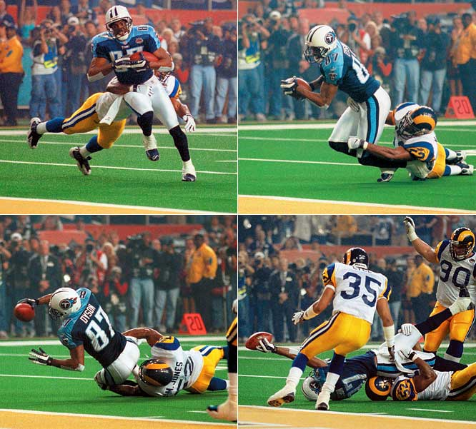 The first Super Bowl played in the 2000s will always be remembered for one image: Tennessee wide receiver Kevin Dyson extending his arm toward the goal line as he's tackled on the final play of the game, the ball spotted a yard shy of the end zone. St. Louis led 16-0 midway through the third quarter before the Titans scored 16 consecutive points. The Rams responded behind Kurt Warner, the game's MVP, who found Isaac Bruce for a 73-yard score. Rams fans couldn't celebrate long as Steve McNair led the Titans from the Tennessee 12-yard line to the St. Louis 10. With six seconds to go, McNair took the snap in the shotgun and threw to his right, where Dyson was tackled by Mike Jones before reaching the goal line.