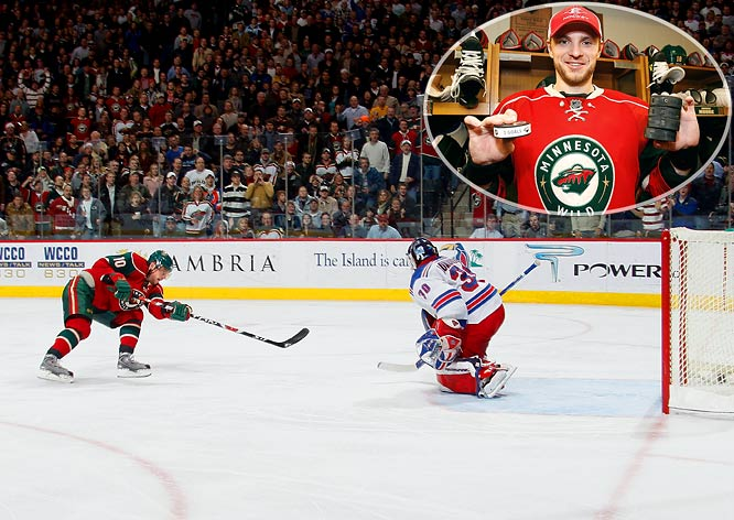 The Minnesota Wild sniper lit up the Rangers for five goals in a 6-3 win. Gaborik scored a hat trick less than 26 minutes into the game and added two more in the third period -- by swatting a puck out of the air and into the net, then beating Rangers goaltender Henrik Lundqvist on a breakaway. For good measure, Gaborik registered an assist, to factor in all of the Wild's points. His five-goal game in regulation was the first in the NHL since Pittsburgh's Mario Lemieux had one against St. Louis on March 26, 1996.
