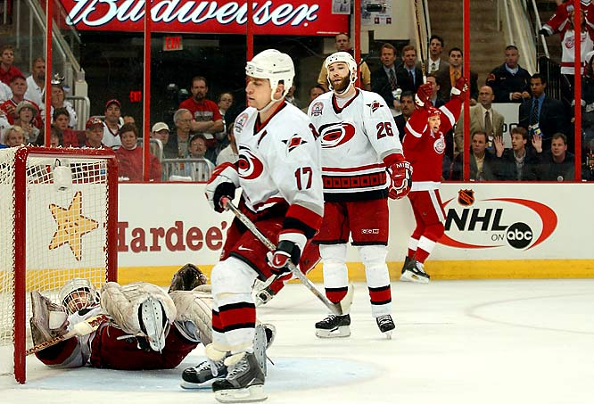 With the series tied at a game apiece, the star-laden Red Wings had to rally from two deficits to force overtime against a determined underdog. In the first overtime, Detroit's Brendan Shanahan snapped his stick and missed an open net before Nicklas Lidstrom hit the post as Hurricanes goaltender Arturs Irbe dueled with his counterpart,  Dominik Hasek. Former Soviet great Igor Larionov, at 41 the NHL's oldest player, finally ended the third-longest game in Stanley Cup finals history with his second goal of the match, at 14:47 of the third extra session.