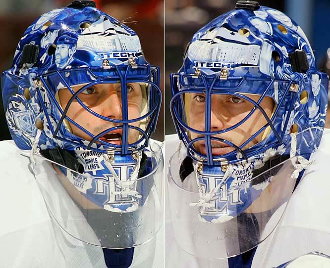 "During a two-year stint with the Maple Leafs (2006-08), Raycroft sported a mask acknowledging the history of a franchise based in the hockey capital of the world. Said Raycroft: ""The mask paid tribute to former Leafs like Felix Potvin, Mike Palmateer, Johnny Bower, Wendel Clark and Doug Gilmour, and then it had Maple Leaf Gardens right in the middle. Frank Cipra painted it and he did an unbelievable job with the faces. They were extremely real and they were some really good profiles. That was the one creative idea I've ever come up with so I'm proud of that one and it seemed to go over pretty well."""