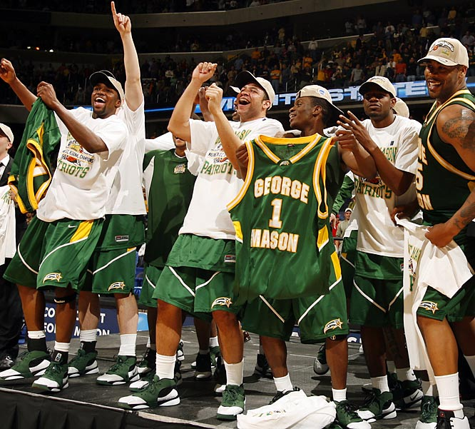 Not to diminish its success in the Colonial Athletic Association, but George Mason had never won an NCAA tournament game before a run for the ages in 2006. As an at-large No. 11 seed, coach Jim Larranaga's Patriots beat Michigan State, North Carolina Wichita State and top-seeded UConn en route to the Final Four (where they lost to Florida). George Mason returned to the Big Dance in 2008 but lost in the first round.