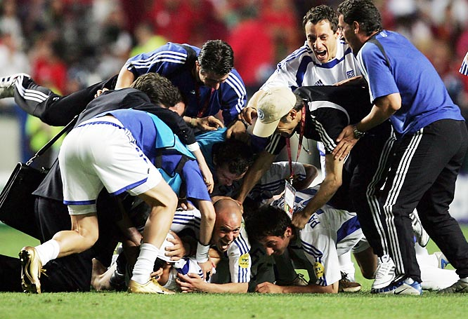 Greece had never won a game at a major tournament before stunning the soccer world as 100-to-1 underdogs at Euro 2004. A band of hard-working unknowns, the Greeks beat host Portugal 1-0 in the final.