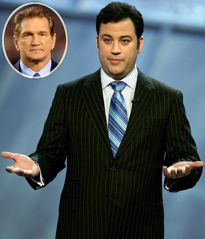 "During the 2007 season, ESPN tried to add star power to <i>Monday Night Football</i> by bringing a variety of guests into the booth. The results weren't good, but Kimmel definitely added some spice in his stint. Among the statements that got Kimmel banned from making future appearances: ''I'd also like to welcome [fired <i>MNF</i> analyst] Joe Theismann, watching from his living room with steam coming from his ears''; and, ''What impressed me most is that [Tom Brady] could impregnate two models''; and, ""Are you allowed to bet legally on this game?"""