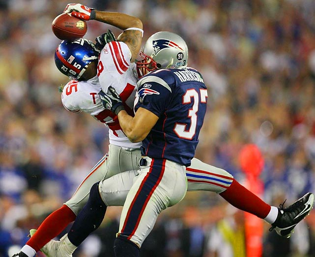"""What I remember the most about David Tyree's miraculous catch for the Giants against the Patriots in the Super Bowl was that an Arizona security guard supervisor walked in front of the whole line of photographers in the end zone while the play was going on. Fortunately, the best frame from the sequence wasn't blocked by the yellow-jacketed security person."""