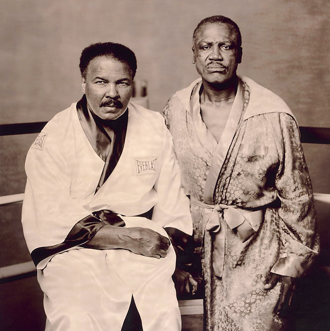 """It was easier to get Muhammad Ali to pose than Joe Frazier. Joe still resented all the torment Ali had caused him over the years, and Ali had made all the money, too. Joe finally agreed to pose when we offered to go to his gym in Philadelphia. I knew it would be a difficult shoot because Ali had Parkinson's and I learned that day that Frazier had diabetes. Ali walked in, and I set a stool in the ring for him to sit on. Joe said, 'What about me? Man, I can barely walk. My legs are killing me.' But they were happy, joking around and hamming it up in every shot. Near the end I switched from color to sepia film. I said, 'Look, guys, just stare at the camera. No smiles, no gags.' I did one frame, then a second, and there it was, the picture I was looking for: two battered warriors who'd left their lives in the ring."""