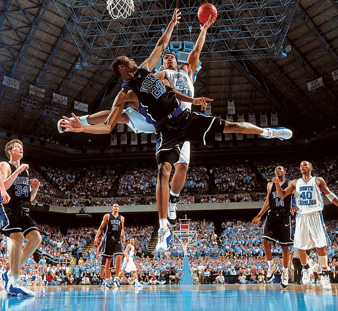 Both players were in mid-air with their arms and legs making an almost perfect cross. It was used as the opening spread in the Mar.19, 2001 issue of Sports Illustrated.The game was played in Chapel Hill in a heavy snowstorm and I barely managed to catch the last plane back to NYC. [SI Photo editor] Steve Fine said it was one of his favorites and it is one of mine as well.