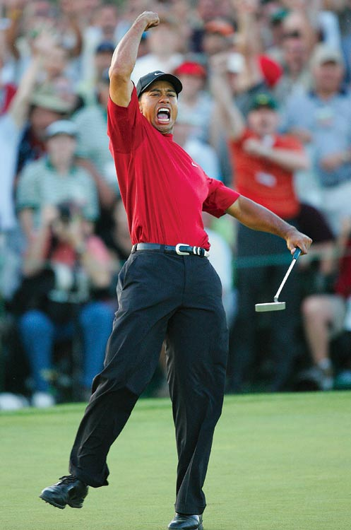 ''When Tiger lined up his final putt of the 2005 Masters, his back was to me. The chances of his celebrating his victory in my direction were slim. Just moments before the putt, after putting toward me, he missed what would have been the clinching shot at the same hole. It was a humbling reminder of the role that luck plays in this business. Anyway, on this putt, when the ball rolled into the cup, an amazing thing happened: Tiger turned right toward me and celebrated as only he can. The fickleness of luck cuts both ways.''