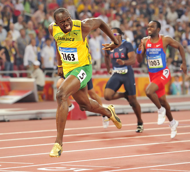 """For me, Usain Bolt winning his second gold medal in a second world record time [this photo is from the 200 meters after he had already won the 100] at the 2008 Summer Olympics in Beijing was the sporting moment of the decade!"""
