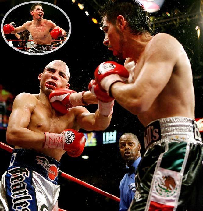 Miguel Cotto's first professional defeat came in a welterweight title defense against Antonio Margarito at the MGM Grand Garden Arena in Las Vegas. After weathering the Puerto Rican's best shots in the early rounds, the Tijuana Tornado used constant pressure to turn the tide. Cotto went down twice in the 11th before his corner threw in the towel. The luster from Margarito's career-defining victory proved short-lived, however, after he was caught attempting to use illegal hand wraps in his very next fight against Shane Mosley.