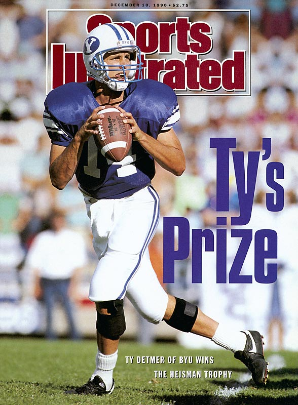 The last winner to come from a school that's currently not in a BCS conference, Detmer's numbers dipped from his record-setting junior season as he passed for 4,031 yards and 35 touchdowns his senior year. He was a consensus All-America but finished third in the Heisman behind Michigan's Desmond Howard and Florida State's Casey Weldon.
