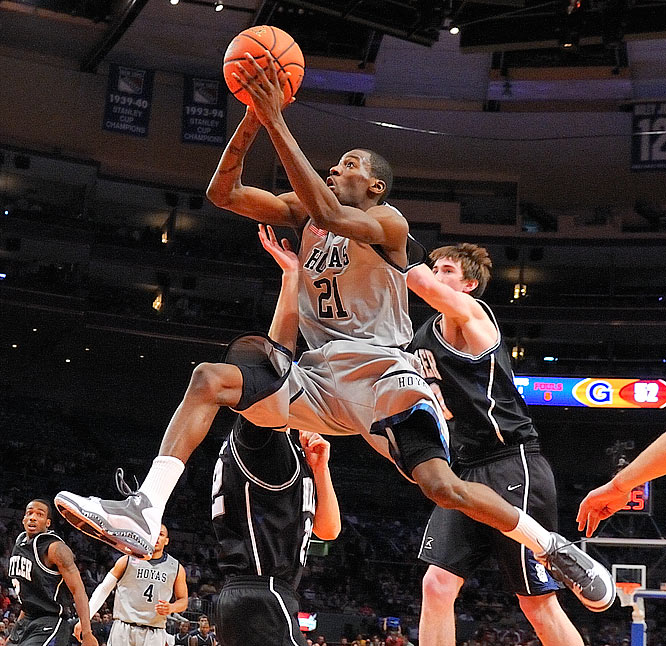 Jason Clark of Georgetown drives to the basket as the Hoyas improved to 7-0.