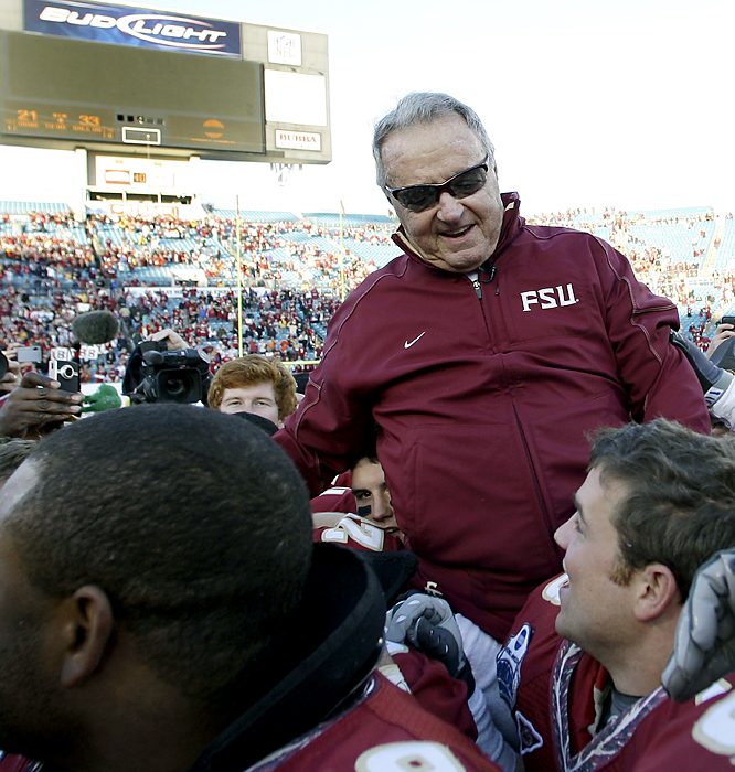 Bobby Bowden rode off the field a winner in his final game as the Seminoles took care of No. 18 West Virginia. Bowden finished with a 389-129-4 record, and most importantly to him, a 33rd consecutive winning season. Next week, Jimbo Fisher takes over at Florida State, which finished 7-6 for the third time in the last four years.