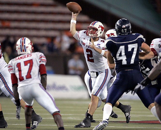 Freshman Kyle Padron threw for an SMU-record 460 yards, leading the Mustangs to a win in their first postseason appearance in 25 years.