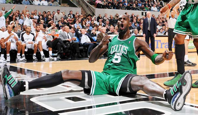 Celtics forward Kevin Garnett reacts after scoring and drawing a foul against the San Antonio Spurs during Boston's 90-83 victory in the Alamo City.
