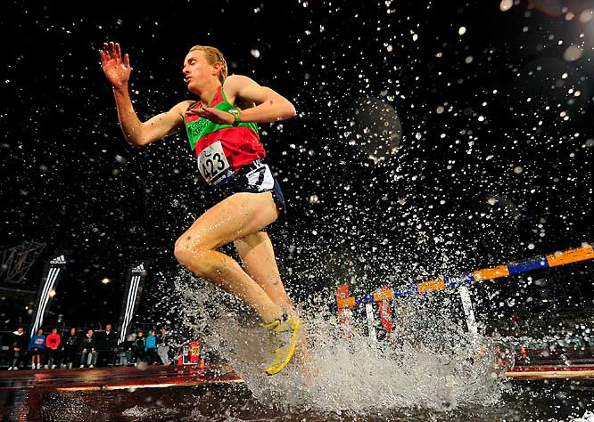 Chris Discombe of the United Kingdom competes in the 3000-meter steeplechase during the Zatopek Classic on Dec.10 in Melbourne.