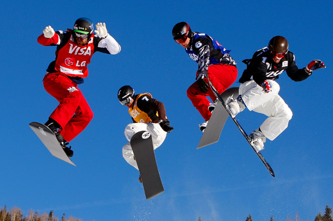 Seth Wescott (far left) of the U.S., De Le Rue Xavier (7) of France, Ross Powers (6) of the U.S. and Pierre Vaultier (14) of France compete at the FIS Snowboardcross World Cup on Dec. 19 in Telluride, Colo. Vaultier won the event. Powers placed third.