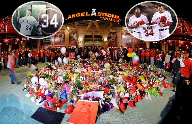 Just hours after pitching six scoreless innings in his first start of the season, 22-year-old Angels pitcher Nick Adenhart was killed by a drunk driver in an accident. The grief-stricken Angels initially struggled to cope with Adenhart's death, but dedicated their season to his memory and kept his jersey in their dugout every game en route to another AL West title and a berth in the ALCS.