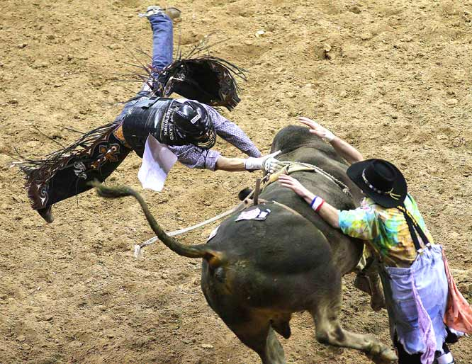 "J.W. Harris of May, Texas, riding with a broken right hand, is thrown from ""Hawaiian Ivory"" during the 9th round. Harris was named the bull riding champion."