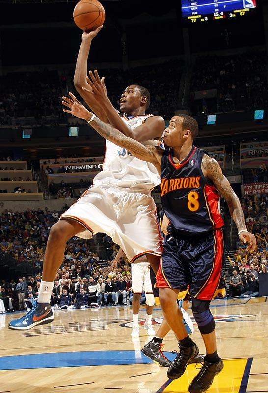 That the Thunder are much improved isn't surprising. But their road success -- usually an elusive thing for young teams -- has been eye-opening. With third-year forward Kevin Durant (pictured) blossoming into a superstar, the Thunder already own road victories against San Antonio, Miami and Utah. In fact, with six wins in their first 11 road games, the Thunder are only two short of last season's total.