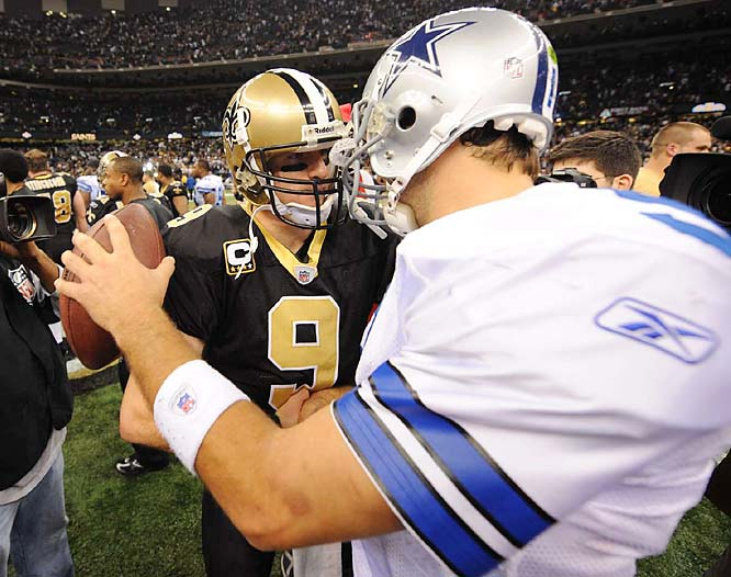 Romo and Drew Brees (9) aren't the tallest of quarterbacks, but they both get the job done.