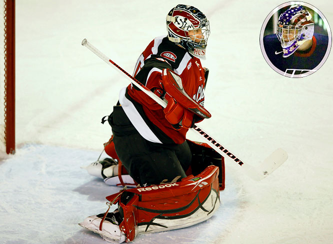 The Americans were undone last year by the inability of their goaltenders to deliver the big save at the key moment. While they've yet to name a starter, either St. Cloud State's Lee (pictured) or Campbell (inset) of the National Team Development Program should provide a significant upgrade. Campbell led the U.S. to gold at last summer's Under-18 event, posting a 0.75 GAA and .967 save percentage. Lee was Goaltender of the Year as a rookie with the USHL's Fargo Force.