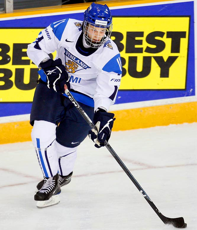 The Finns will be hard-pressed to medal, but the 5-8, 163-pound winger could emerge as the most dynamic offensive talent in the tournament. The 2009 Edmonton fourth-rounder broke Alexander Ovechkin's scoring record at the 2008 Under-18's with 10 goals and 19 points in just six games, and netted the shootout winner that secured the bronze for Finland.