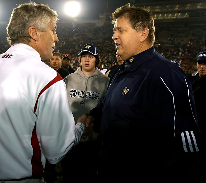 """Weis may never have been able to embarrass Pete Carroll on the football field while he was at Notre Dame, but he succeeded in doing just that on his way out the door in South Bend. In an exit interview, he hinted that Carroll may be living with graduate student in Malibu. Weis can apologize all he wants now, but the damage is done. Google Carroll now and the first three terms attached to his name are """"grad student,"""" """"girlfriend"""" and """"affair."""""""