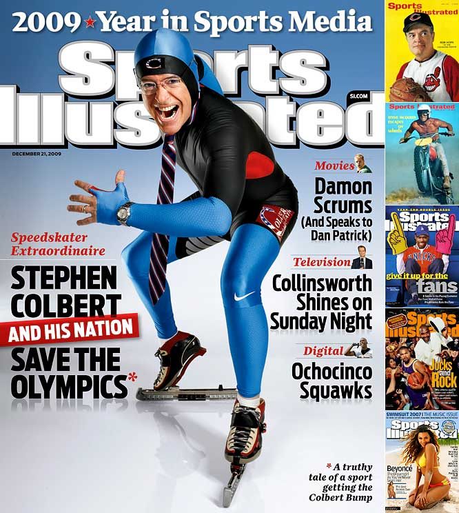 If there were odds on this week's SI cover choice, Colbert would not have even made the board. But there he is, in his an Olympic speedskating uniform joining an exclusive group of non-athletes including Bob Hope, Steve McQueen, Chris Rock and Ice Cube to grace the cover of SI. Thankfully he wore more than the last celebrity on the cover -- Beyonce.