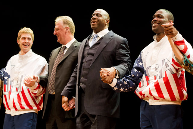 Kevin Daniels and Tug Coker, who appeared as Larry Bird and Magic Johnson in the Broadway play  Magic/Bird , take a curtain call with the two Hall of Famers during the play's opening night peformance.