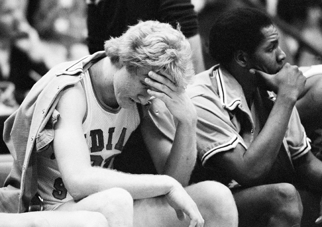 Bird takes a break on the bench during a home game. The Sycamores were undefeated and the No. 1 team in the nation at this point in Bird's senior season.