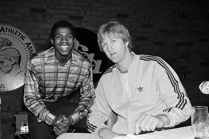 Bird and longtime rival Magic Johnson pose for a shot at the 1979 Final Four.