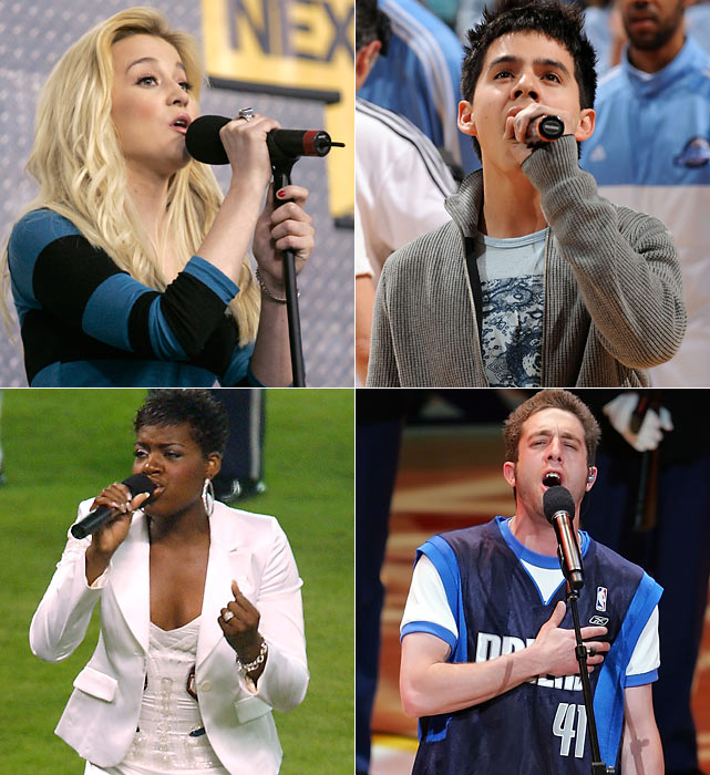 "Dozens of Idol contestants have performed ""The Star Spangled Banner"" at sporting events, including (clockwise from top left) Kellie Pickler, David Archuleta, Elliott Yamin and Fantasia Barrino."