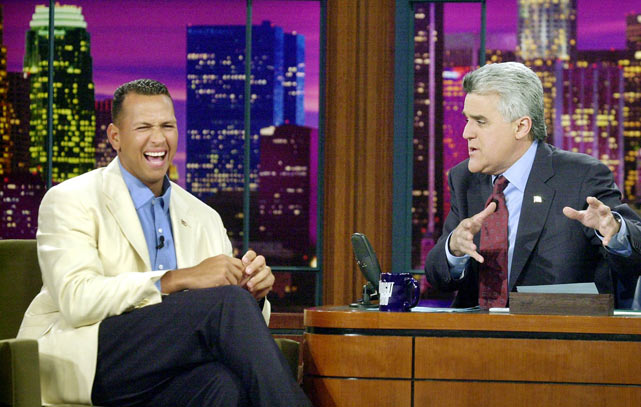 Texas shortstop Alex Rodriguez joined Leno just prior to the start of the 2003 season, his last with the Rangers.